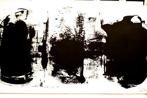 "#11 ""3 BIG BLACK MOVEMENTS ON WHITE""  106 x 56 x 1.5"
