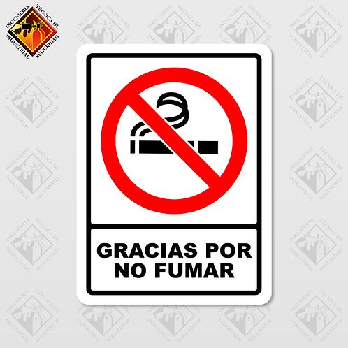 """Señal de """"GRACIAS POR NO FUMAR"""""""