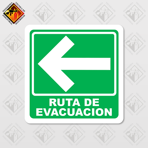 """Señal de """"RUTA DE EVACUACIÓN - IZQUIERDA"""""""