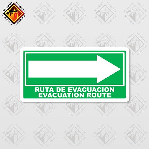 """Señal de """"EVACUATION ROUTE - RIGHT"""""""