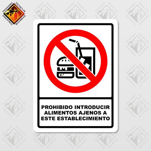 """Señal de """"PROHIBIDO INTRODUCIR ALIMENTOS AGENOS"""""""