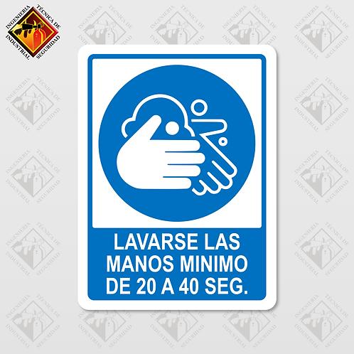 """Señal de """"LAVESE DE 20 A 40 SEG"""""""