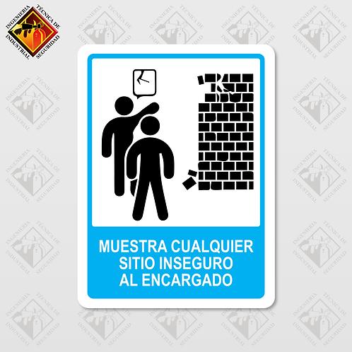 """Señal de """"MUESTRA EL SITIO INSEGURO"""""""