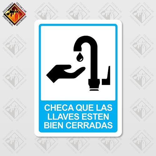 """Señal de """"CHECA QUE LAS LLAVES ESTEN CERRADAS"""""""