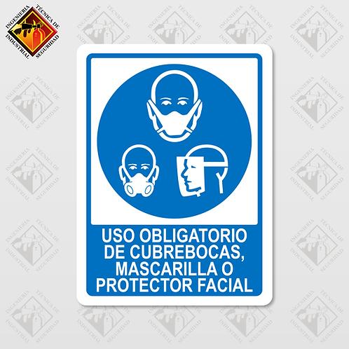 """Señal de """"USO OBLIGATORIO DE CUBREBOCAS"""""""
