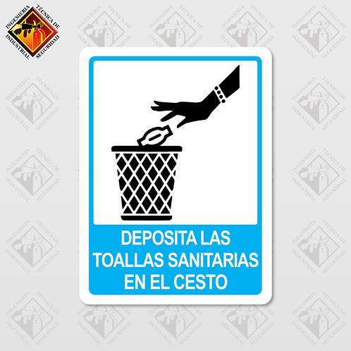 """Señal de """"DEPOSITA LAS TOALLAS EN EL CESTO"""""""
