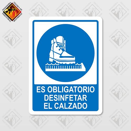 """Señal de """"DESINFECTAR EL CALZADO"""""""