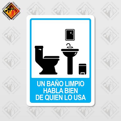 """Señal de """"UN BAÑO LIMPIO"""""""