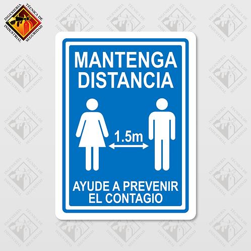 """Señal de """"MANTENGA LA SANA DISTANCIA"""""""