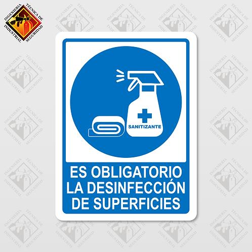"Señal de ""OBLIGATORIO DESINFECCIÓN"""