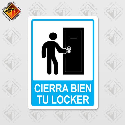 """Señal de """"CIERRA BIEN TU LOCKER"""""""