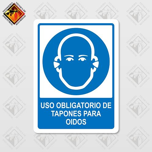 """Señal de """"OBLIGATORIO TAPONES PARA OIDOS"""""""