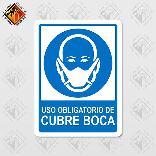 """Señal de """"OBLIGATORIO CUBRE BOCA"""""""