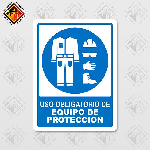 """Señal de """"OBLIGATORIO EQUIPO DE PROTECCIÓN"""""""
