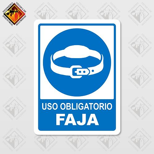 """Señal de """"OBLIGATORIO FAJA"""""""