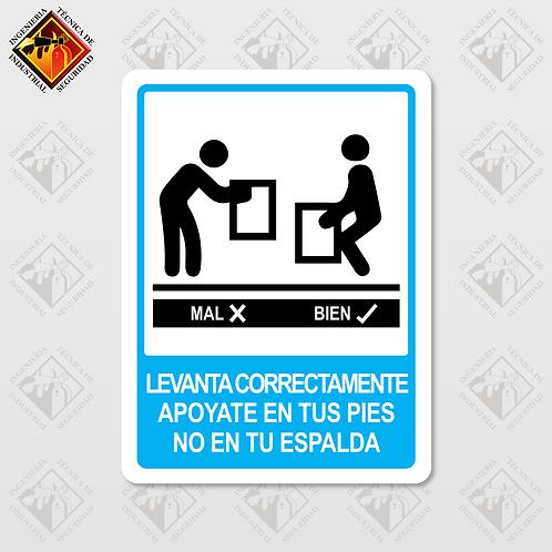 """Señal de """"LEVANTA CORRECTAMENTE"""""""