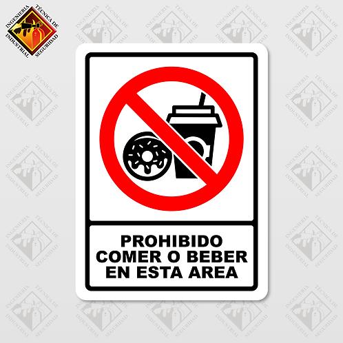 """Señal de """"PROHIBIDO COMER O BEBER EN ESTA AREA"""""""