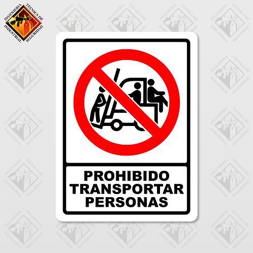 """Señal de """"PROHIBIDO TRANSPORTAR PERSONAS"""""""