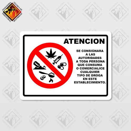 """Señal de """"ATENCIÓN / PROHIBIDO CONSUMIR DROGAS"""""""