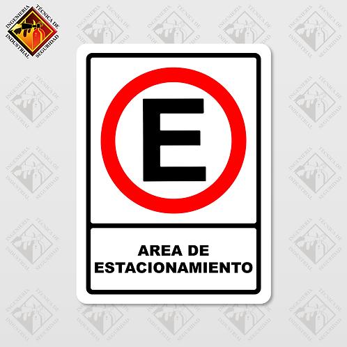 """Señal de """"AREA DE ESTACIONAMIENTO"""""""