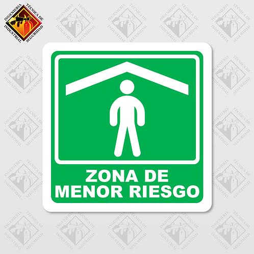 """Señal de """"ZONA DE MENOR RIESGO"""""""