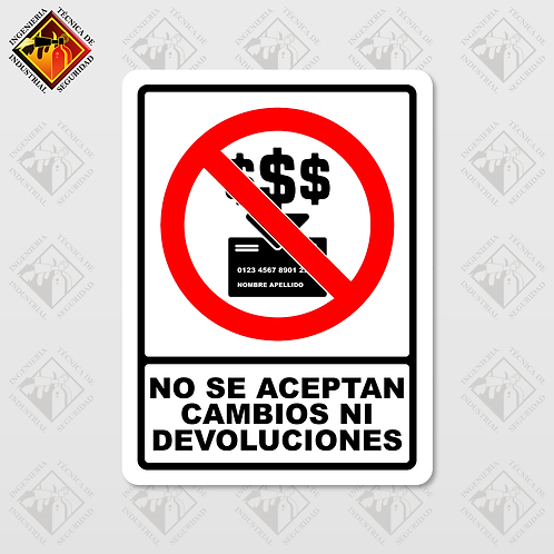 """Señal de """"NO SE ACEPTAN CAMBIOS NI DEVOLUCIONES"""""""