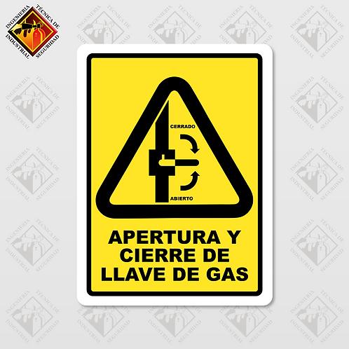 """Señal de """"APERTURA Y CIERRE DE LLAVE DE GAS"""""""