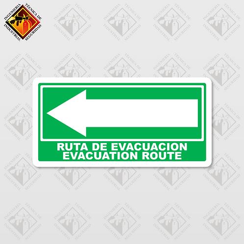 """Señal de """"EVACUATION ROUTE - LEFT"""""""