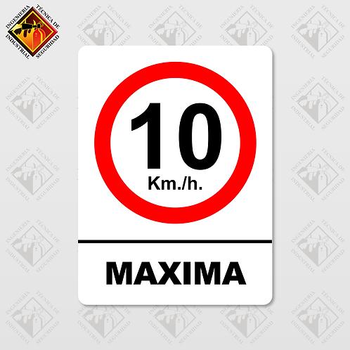 "Señal de ""10 KM/H MÁXIMA"""