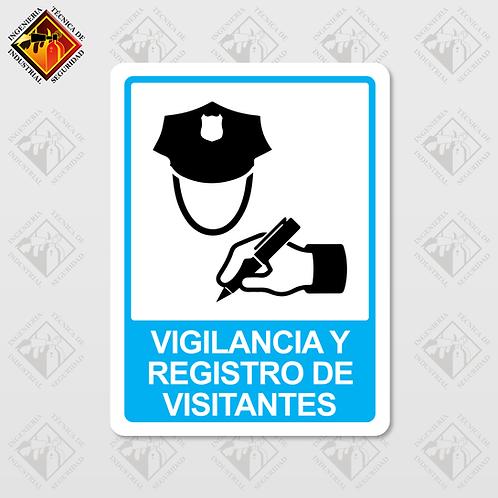 """Señal de """"VIGILANCIA Y REGISTRO DE VISITANTES"""""""