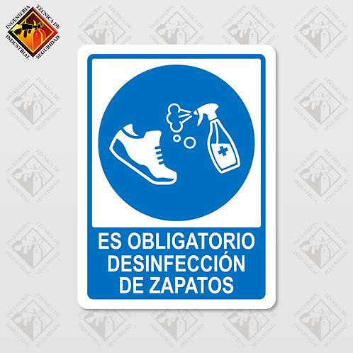 """Señal de """"DESINFECCIÓN DE ZAPATOS"""""""