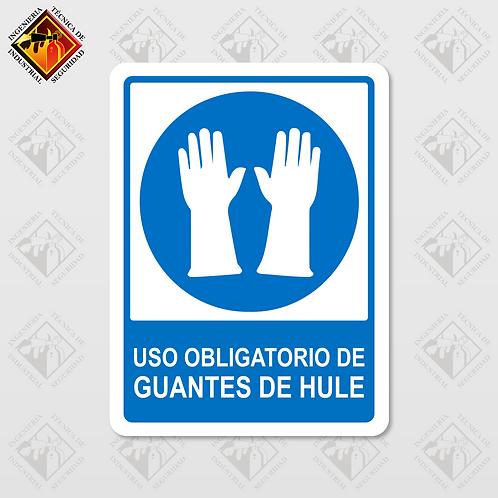 """Señal de """"OBLIGATORIO GUANTES DE HULE"""""""