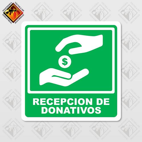 """Señal de """"RECEPCIÓN DE DONATIVOS"""""""