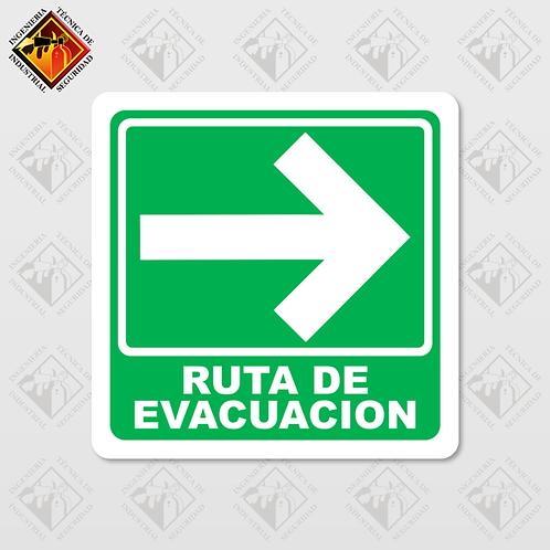 """Señal de """"RUTA DE EVACUACIÓN - DERECHA"""""""