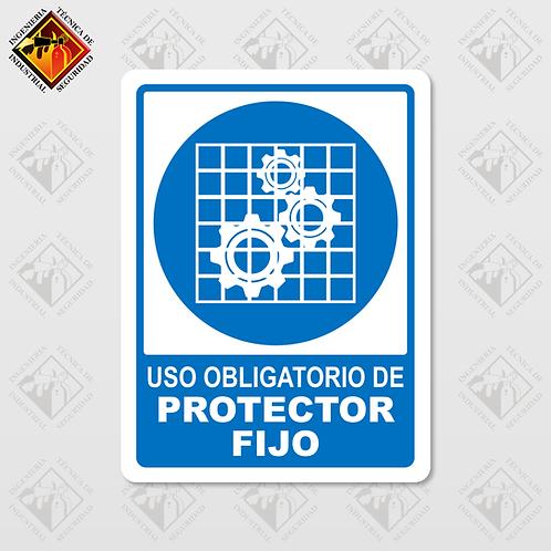 """Señal de """"OBLIGATORIO PROTECTOR FIJO"""""""