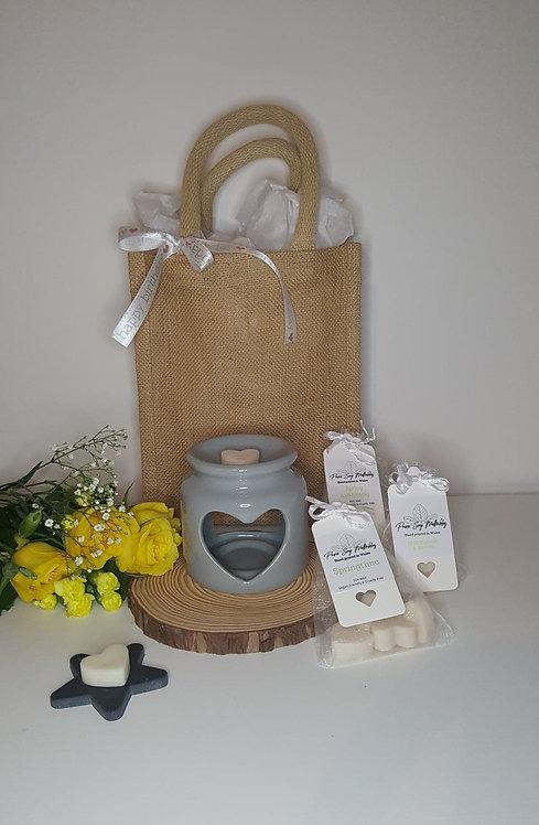 Stumpy Grey Heart Burner Gift Set