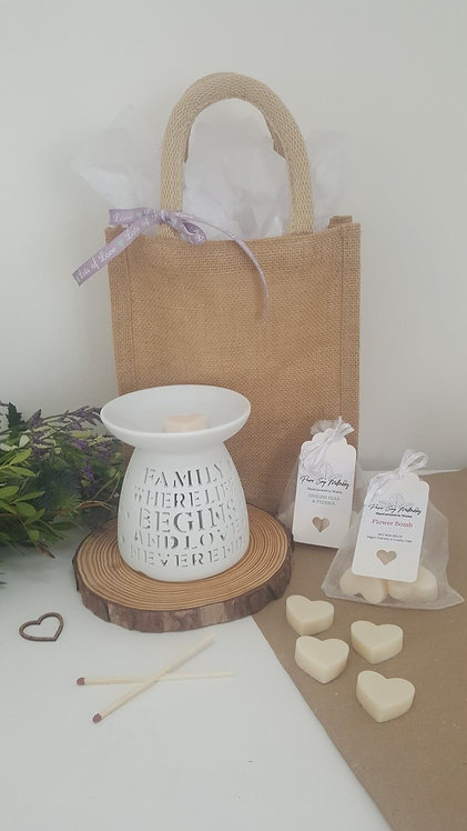 'Family Where Life Begins and Love Never Ends' Burner Gift Set