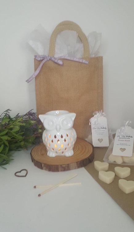 White Owl Burner  Gift Set
