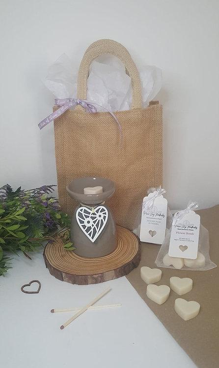 Brown Hanging Heart  Burner Gift Set
