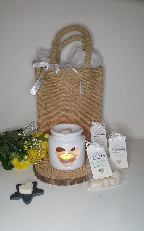 Stumpy White Heart Burner Gift Set