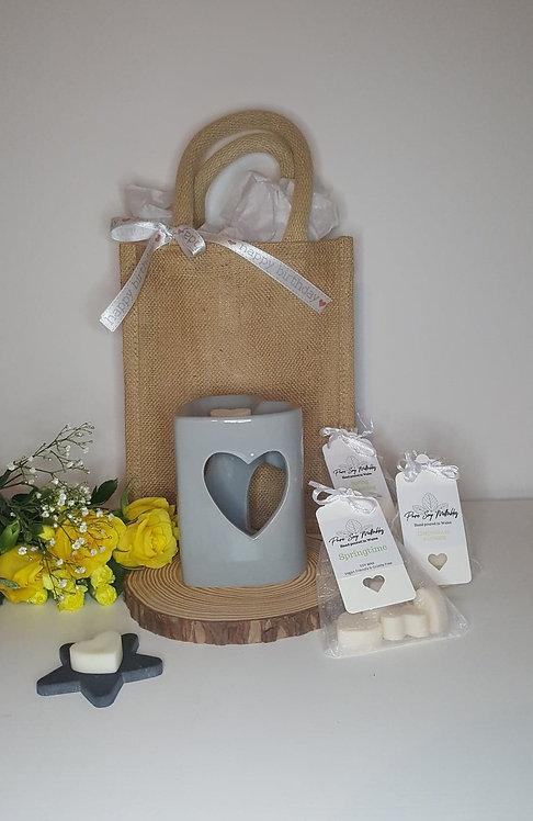 Light Grey Heart Burner Gift Set