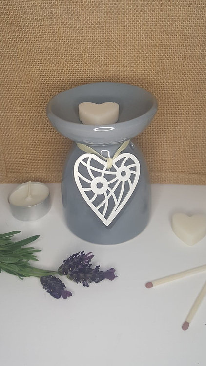 Grey Hanging Heart Wax Burner