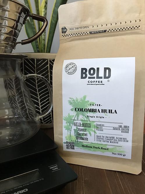 bold coffee colombia huila kraft kahve paketi görseli