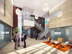 Lobby Rendering Stone with lights
