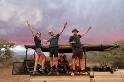 Volunteers and sunset