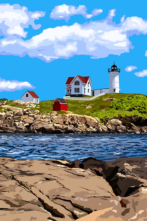 Nubble Light in Summer - Maine - Lighthouse Art - Graphic Art Print