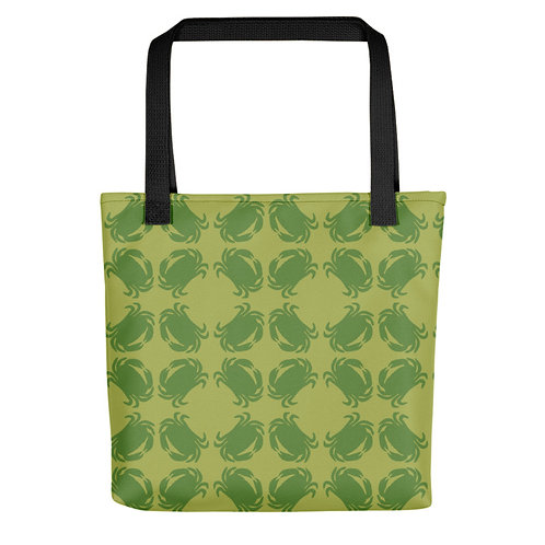 Green Crab Patterned Tote Bag (multiple colors)