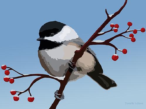 Winter Chickadee - Bird Art - Graphic Art Print