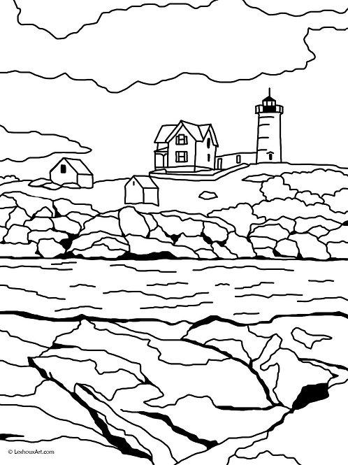 Nubble Light - Coloring Page