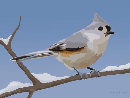 Winter Titmouse - Bird Art - Graphic Art Print